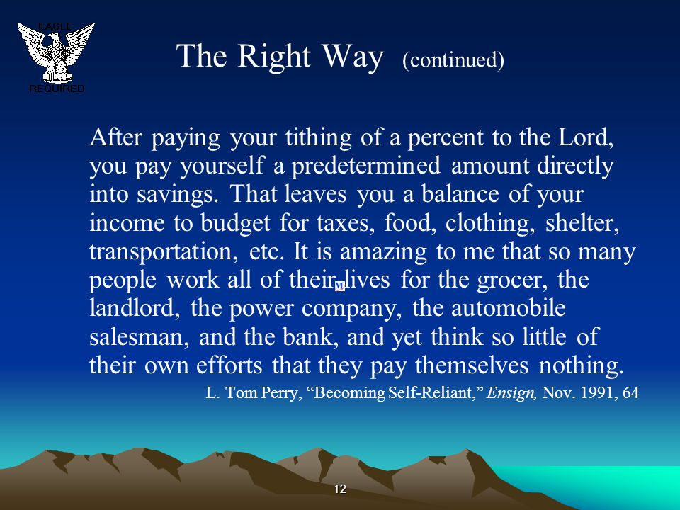 The Right Way (continued)