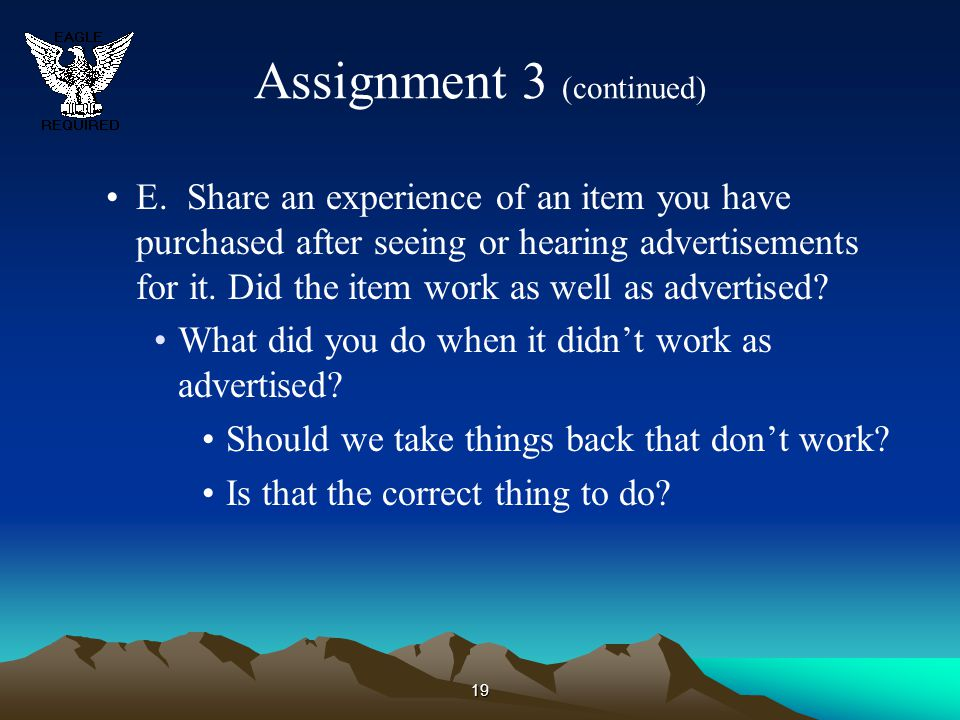 Assignment 3 (continued)