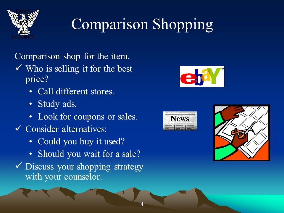 Comparison Shopping Comparison shop for the item.