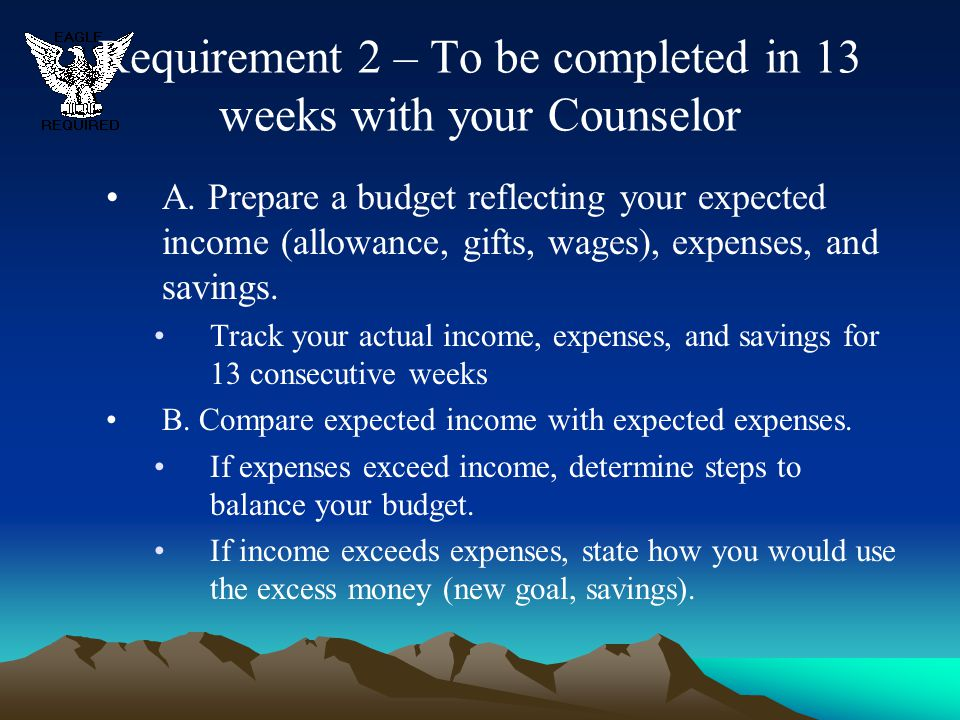 Requirement 2 – To be completed in 13 weeks with your Counselor
