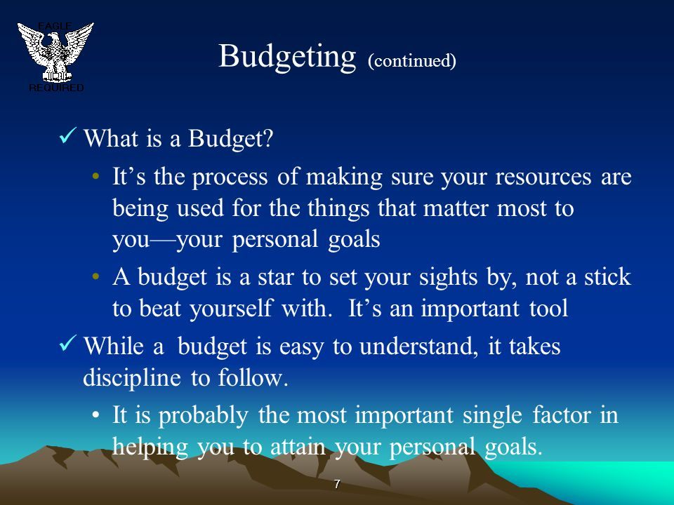 Budgeting (continued)