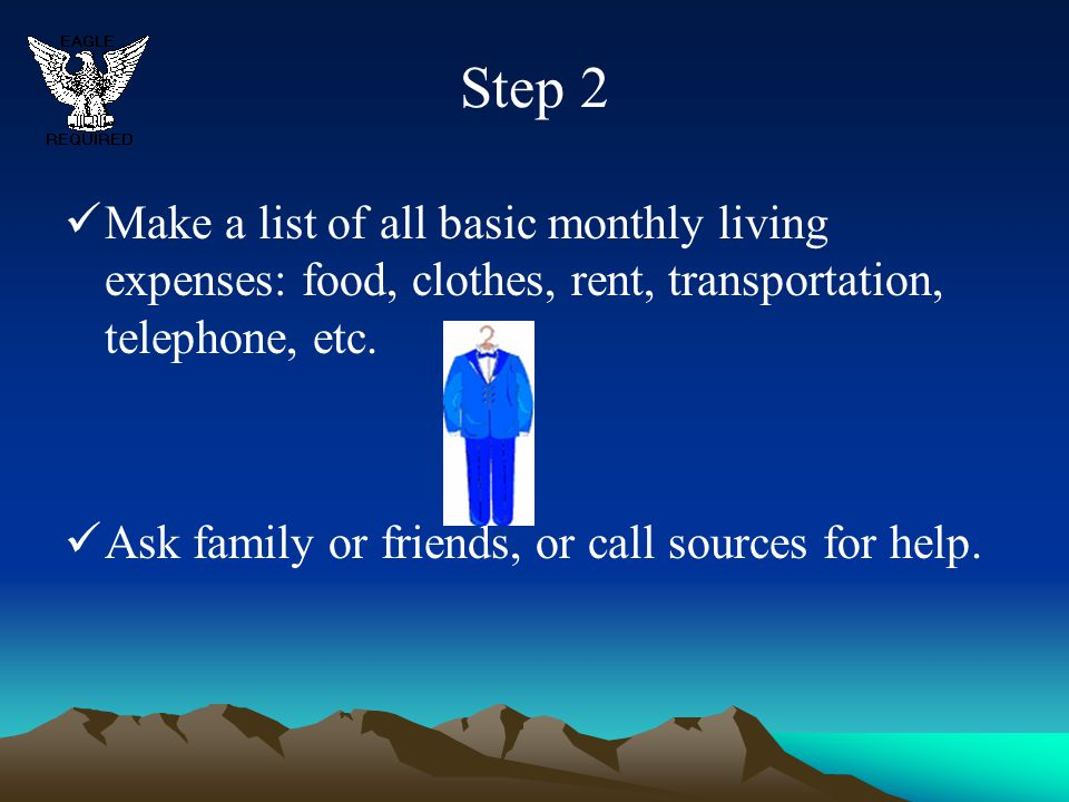 Step 2 Make a list of all basic monthly living expenses: food, clothes, rent, transportation, telephone, etc.
