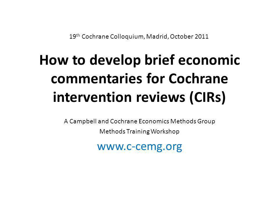 19th Cochrane Colloquium, Madrid, October 2011