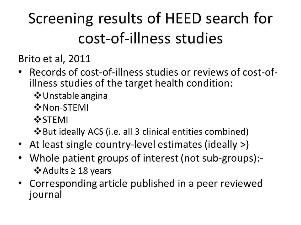 Screening results of HEED search for cost-of-illness studies