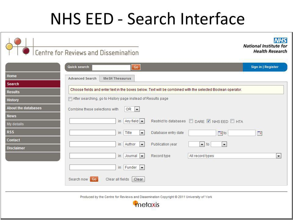 NHS EED - Search Interface