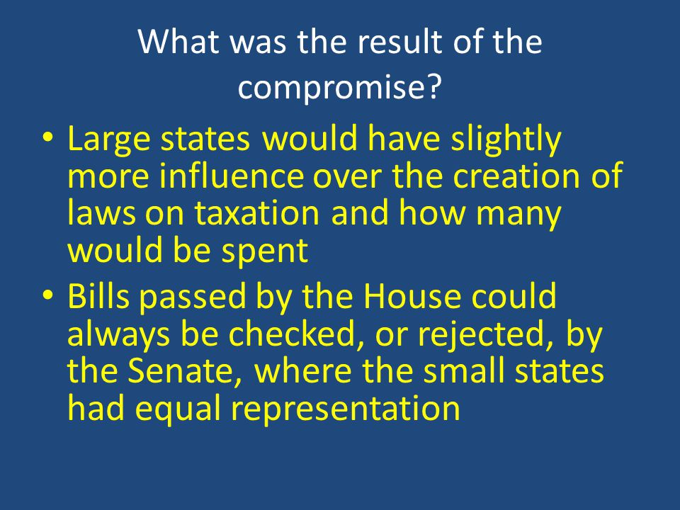 What was the result of the compromise