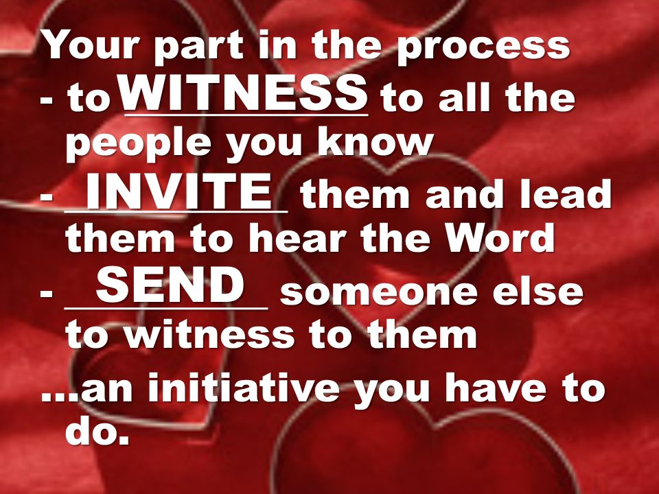 WITNESS INVITE SEND Your part in the process
