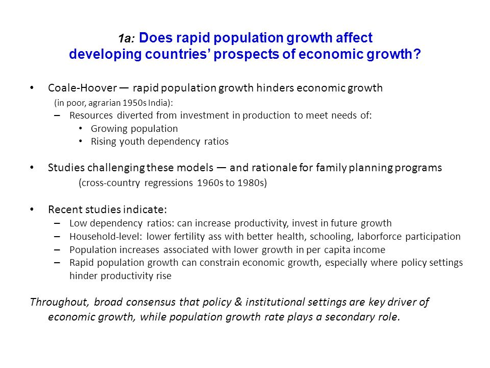 Coale-Hoover ― rapid population growth hinders economic growth