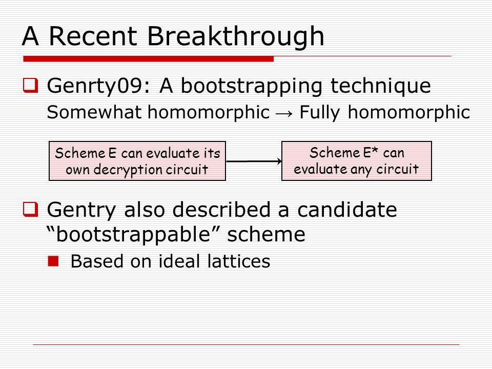 A Recent Breakthrough Genrty09: A bootstrapping technique