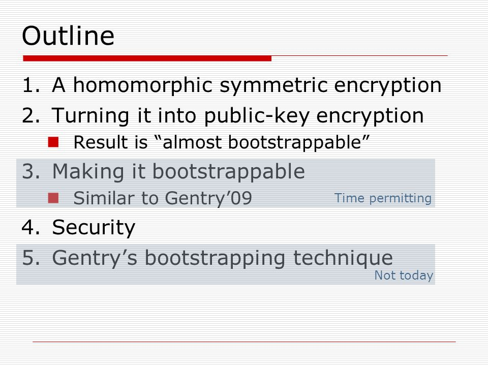 Outline A homomorphic symmetric encryption