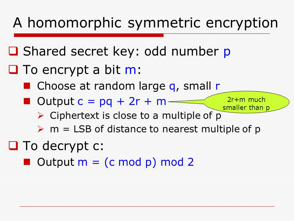 A homomorphic symmetric encryption