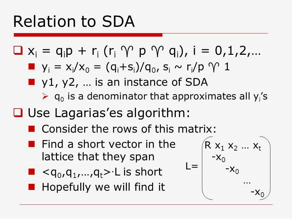 Relation to SDA xi = qip + ri (ri  p  qi), i = 0,1,2,…