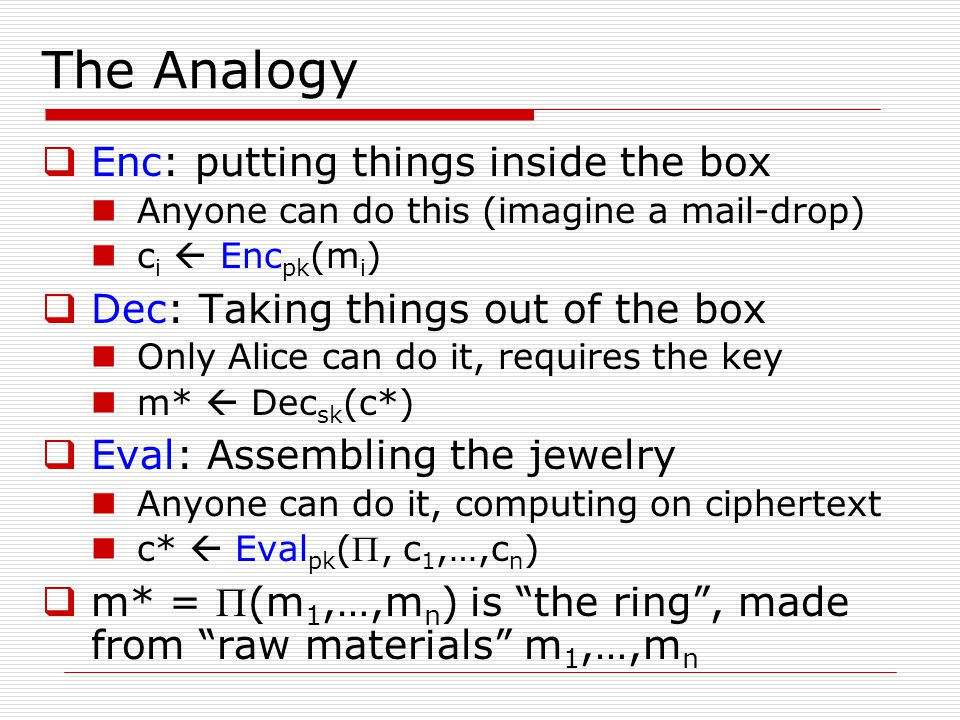 The Analogy Enc: putting things inside the box