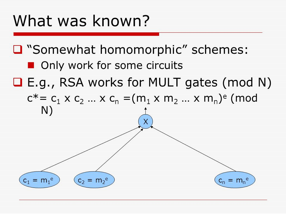 What was known Somewhat homomorphic schemes: