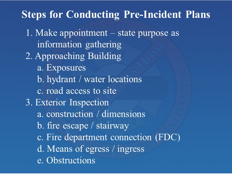 Steps for Conducting Pre-Incident Plans