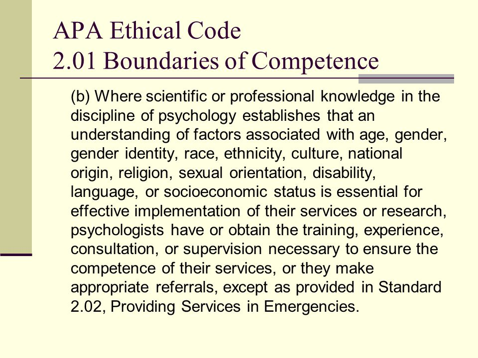 APA Ethical Code 2.01 Boundaries of Competence