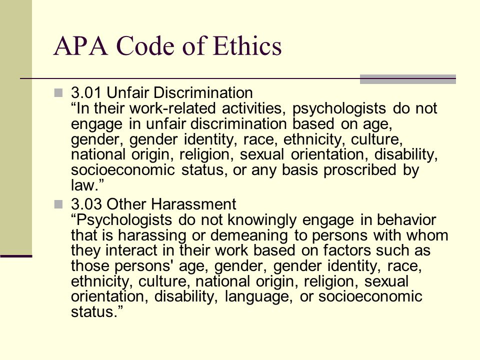 APA Code of Ethics