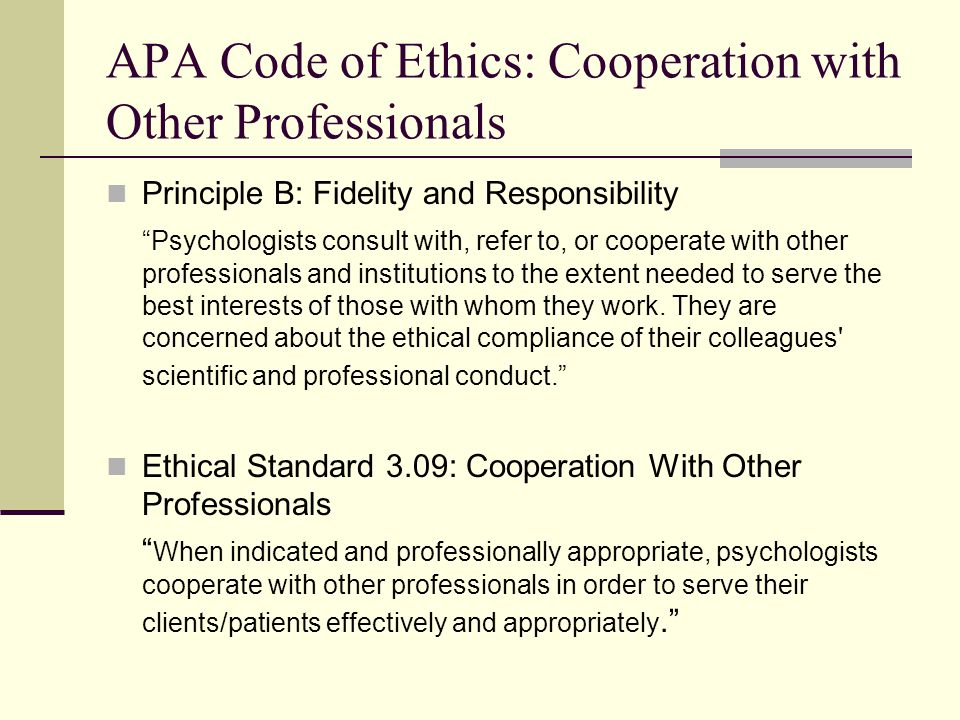 APA Code of Ethics: Cooperation with Other Professionals