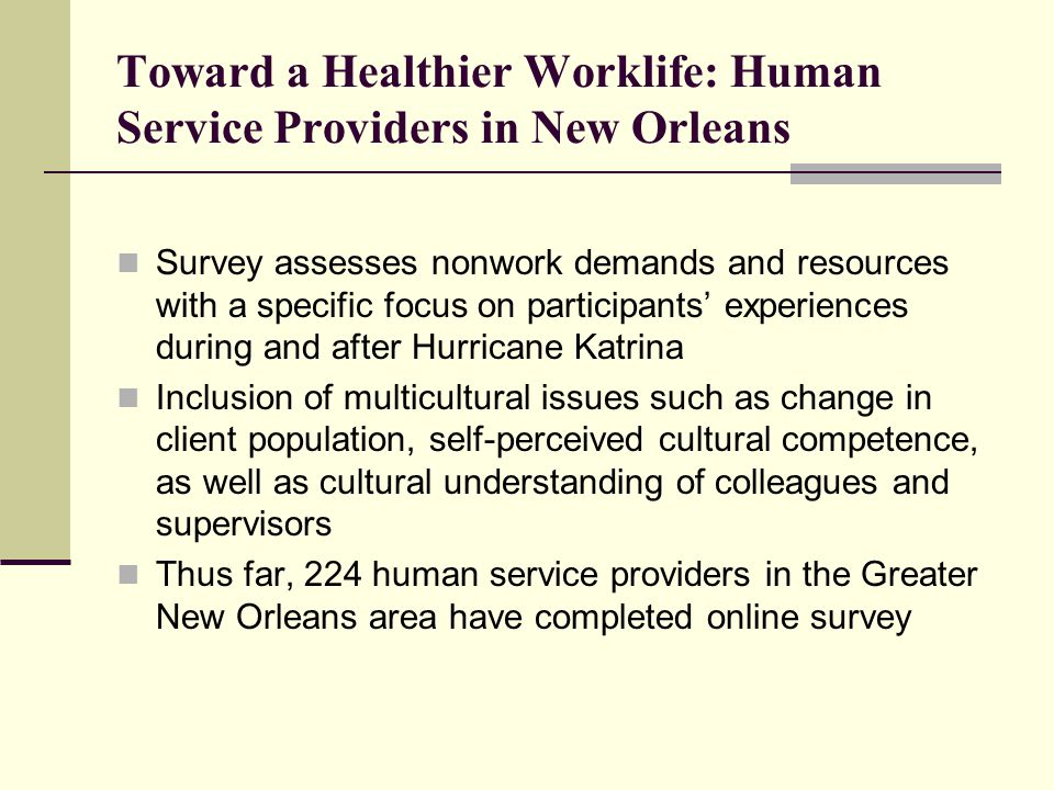 Toward a Healthier Worklife: Human Service Providers in New Orleans