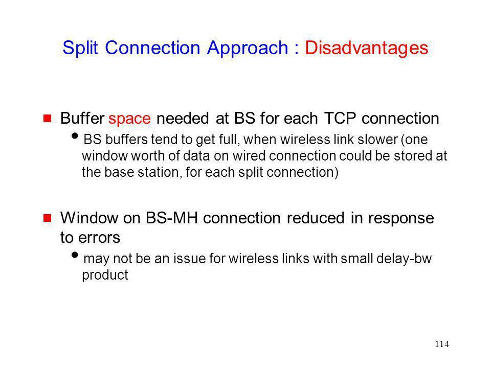 Split Connection Approach : Disadvantages