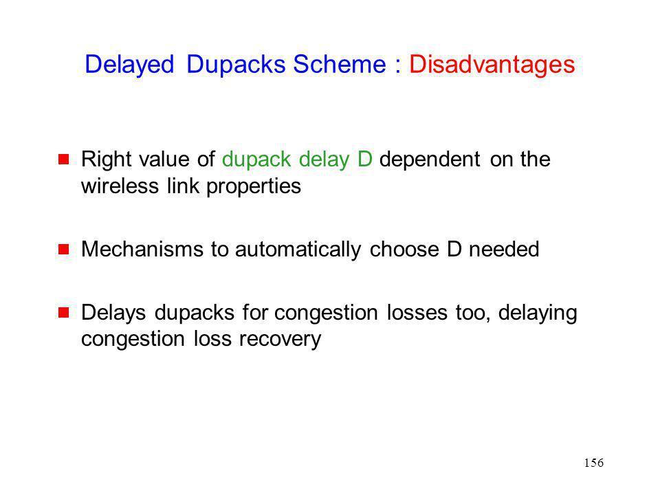 Delayed Dupacks Scheme : Disadvantages
