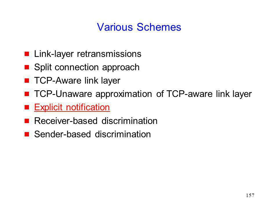 Various Schemes Link-layer retransmissions Split connection approach