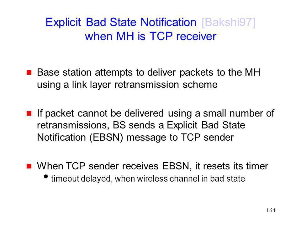 Explicit Bad State Notification [Bakshi97] when MH is TCP receiver