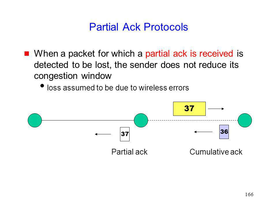 Partial Ack Protocols When a packet for which a partial ack is received is detected to be lost, the sender does not reduce its congestion window.