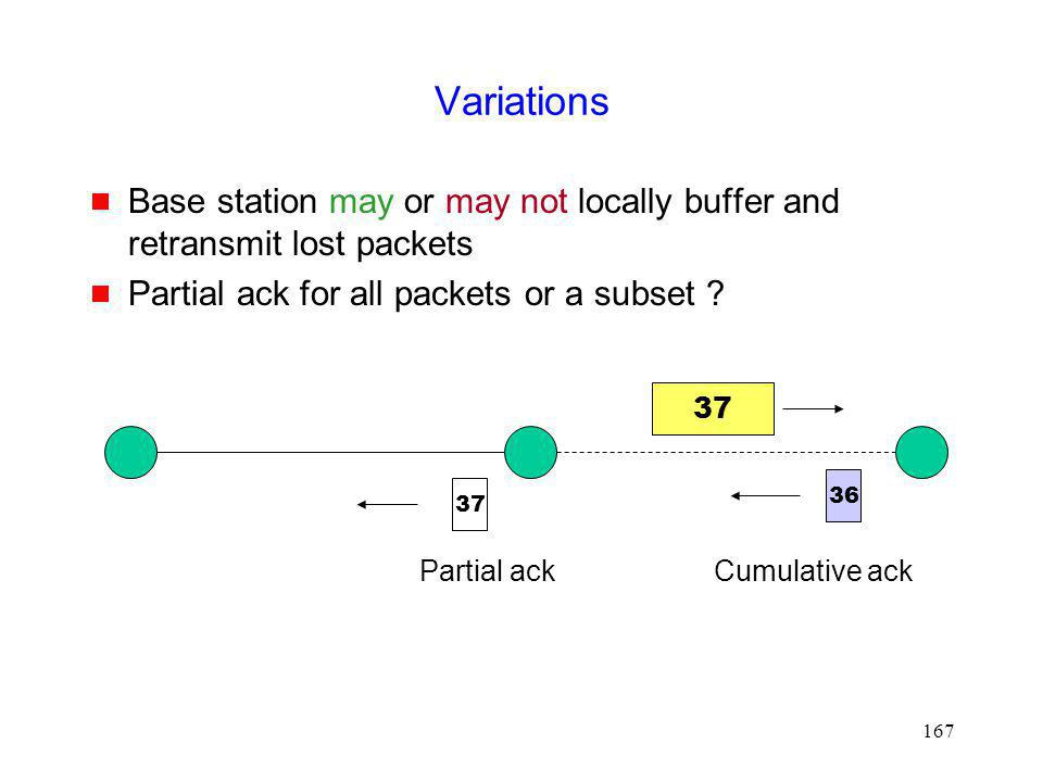 Variations Base station may or may not locally buffer and retransmit lost packets. Partial ack for all packets or a subset