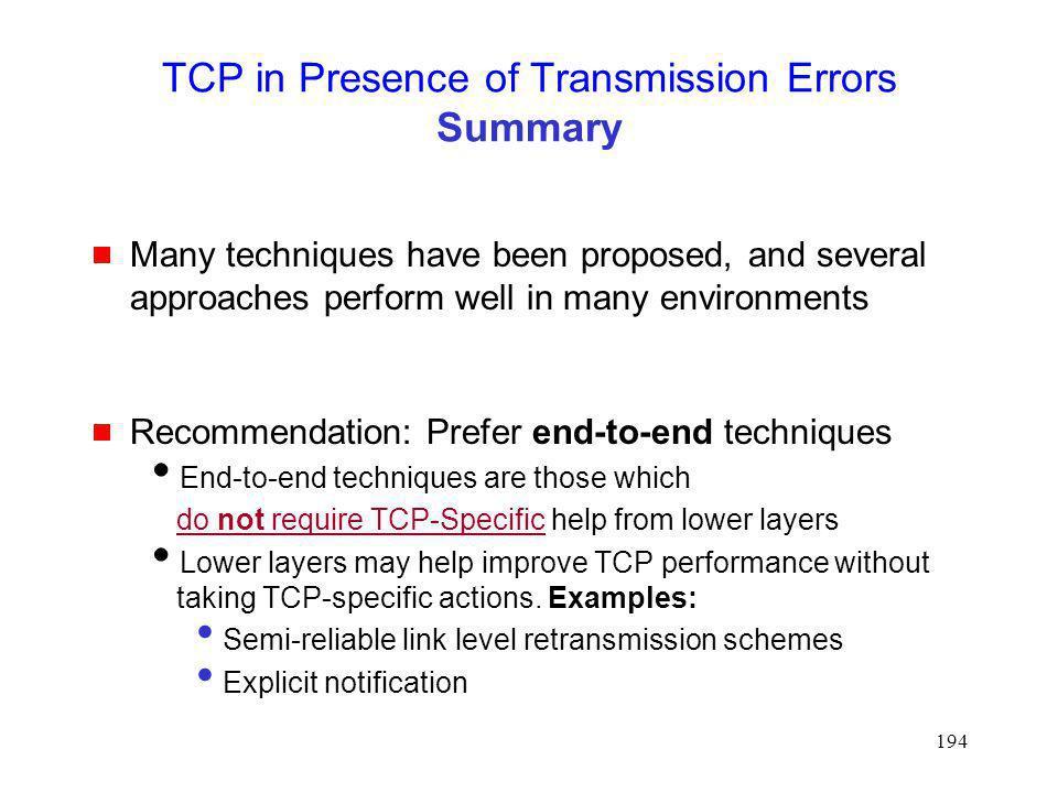 TCP in Presence of Transmission Errors Summary