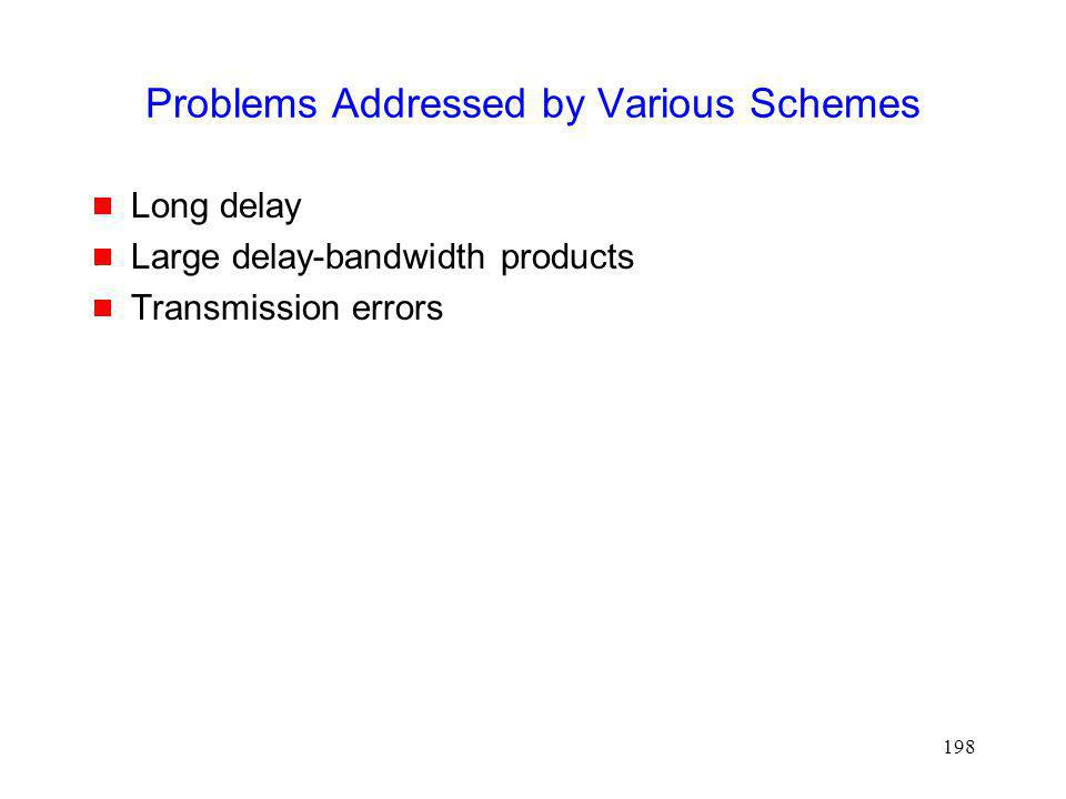 Problems Addressed by Various Schemes