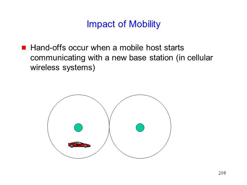 Impact of Mobility Hand-offs occur when a mobile host starts communicating with a new base station (in cellular wireless systems)