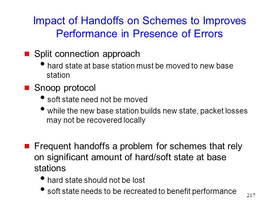Impact of Handoffs on Schemes to Improves Performance in Presence of Errors