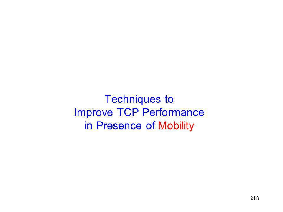 Techniques to Improve TCP Performance in Presence of Mobility