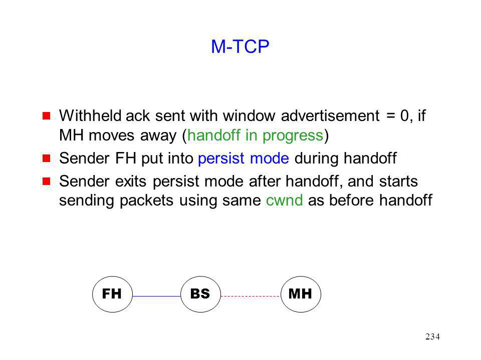 M-TCP Withheld ack sent with window advertisement = 0, if MH moves away (handoff in progress) Sender FH put into persist mode during handoff.