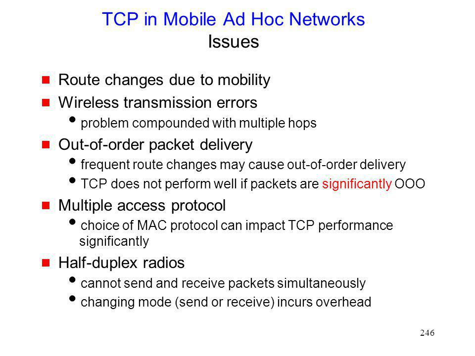 TCP in Mobile Ad Hoc Networks Issues