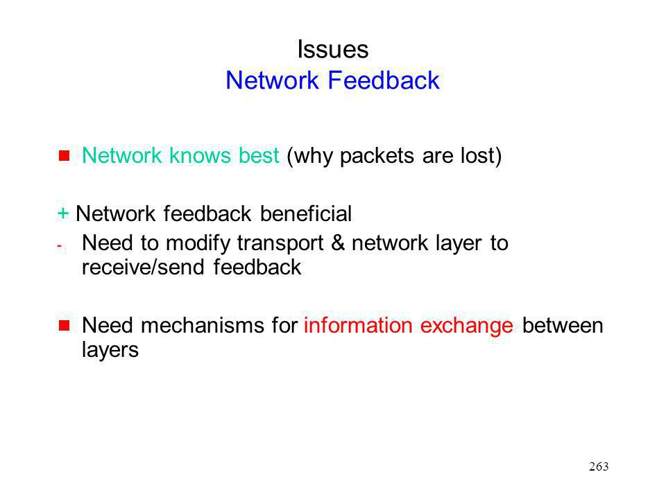 Issues Network Feedback