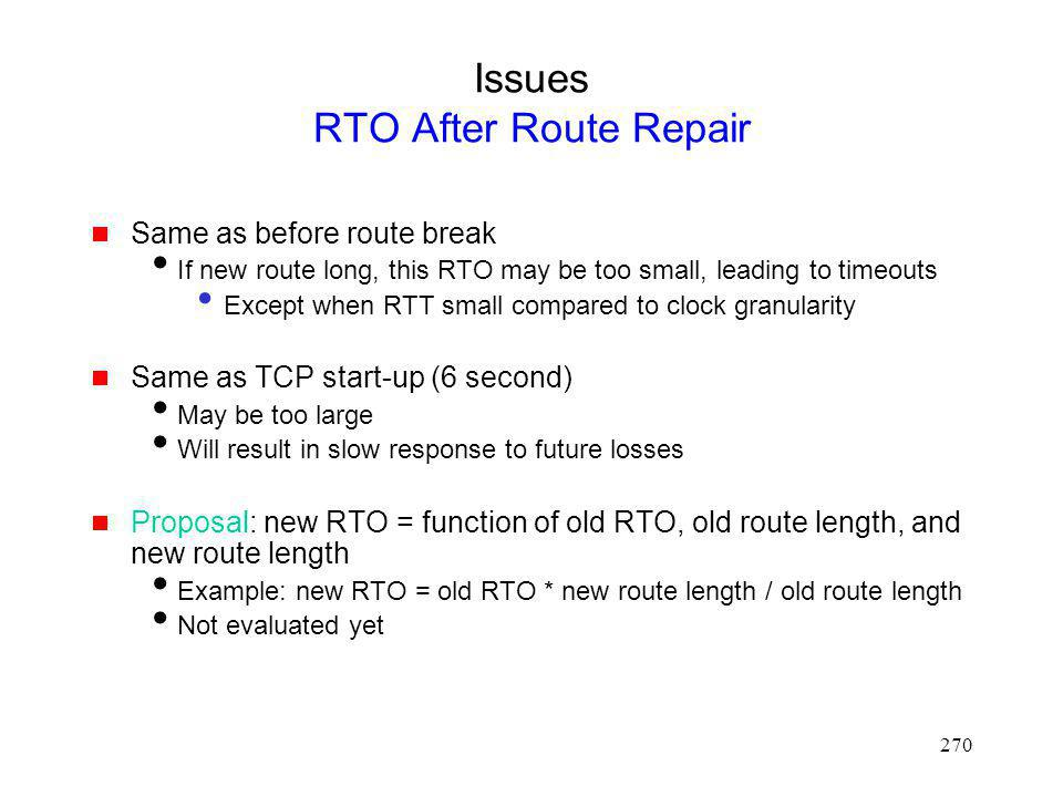 Issues RTO After Route Repair