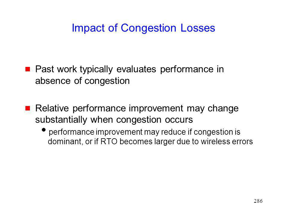 Impact of Congestion Losses