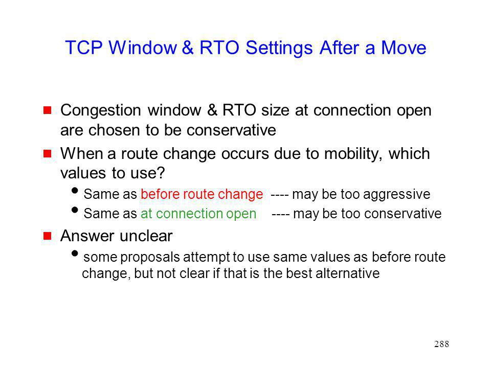 TCP Window & RTO Settings After a Move