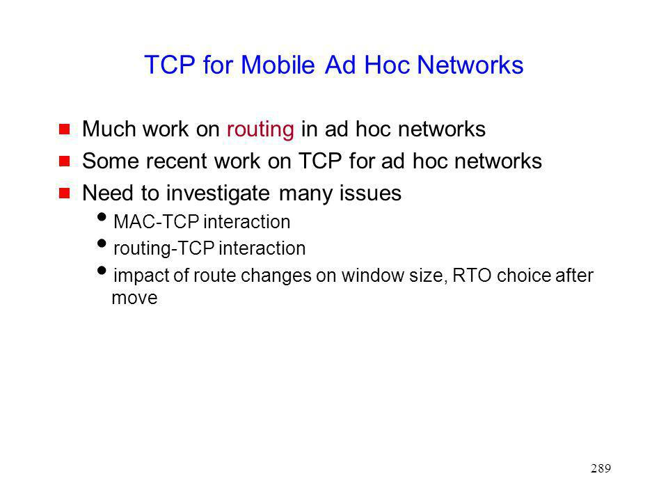 TCP for Mobile Ad Hoc Networks