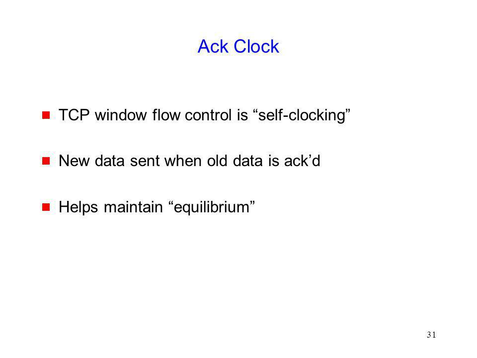 Ack Clock TCP window flow control is self-clocking