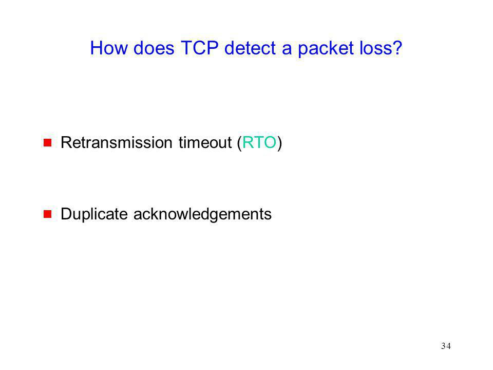 How does TCP detect a packet loss