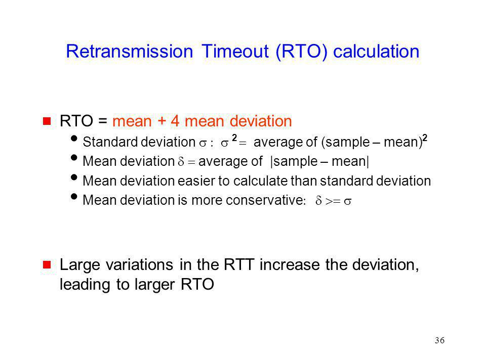 Retransmission Timeout (RTO) calculation