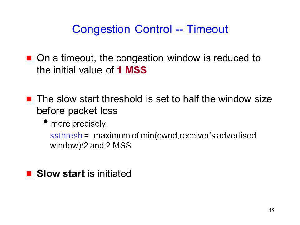 Congestion Control -- Timeout