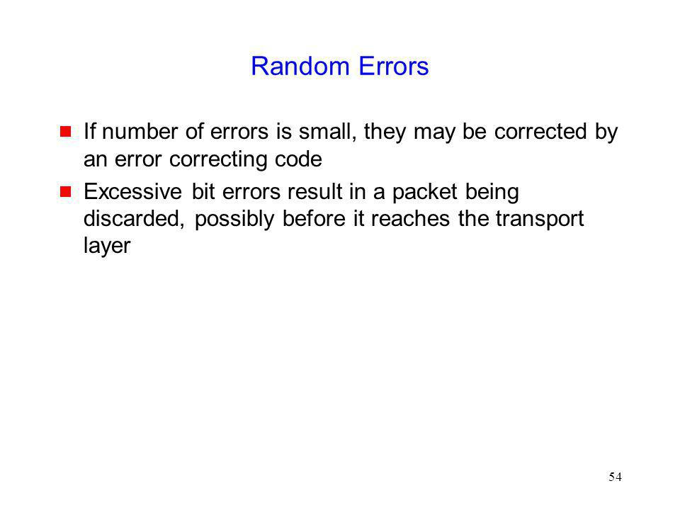 Random Errors If number of errors is small, they may be corrected by an error correcting code.