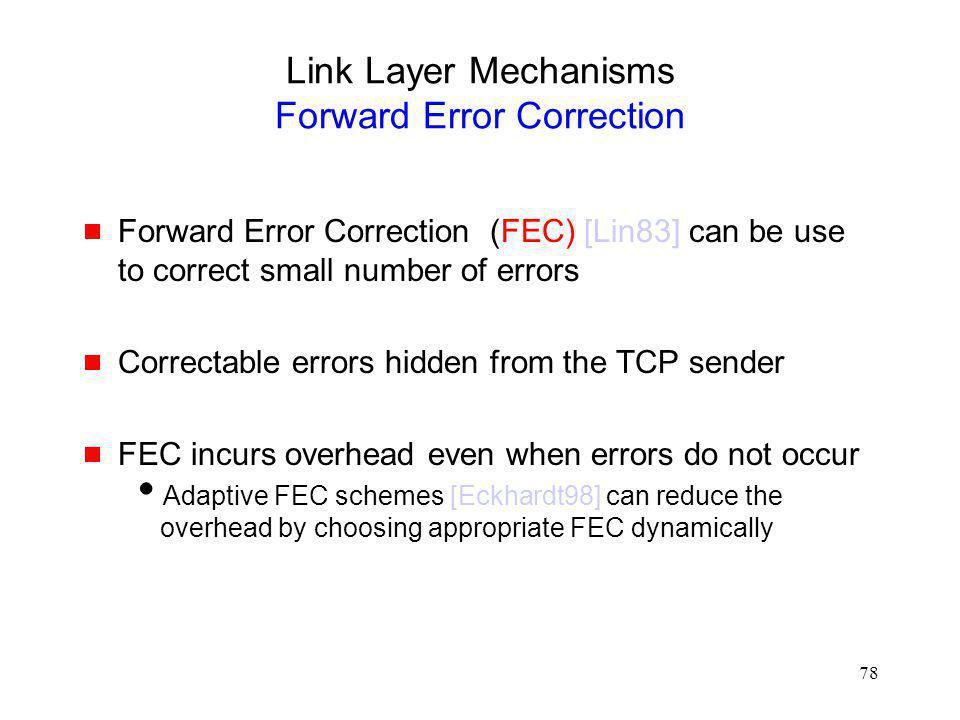 Link Layer Mechanisms Forward Error Correction
