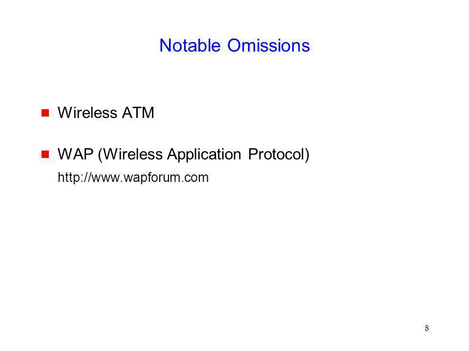 Notable Omissions Wireless ATM WAP (Wireless Application Protocol)