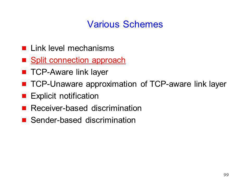 Various Schemes Link level mechanisms Split connection approach