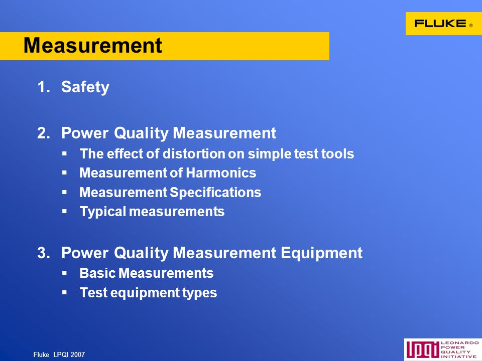 Measurement Safety Power Quality Measurement